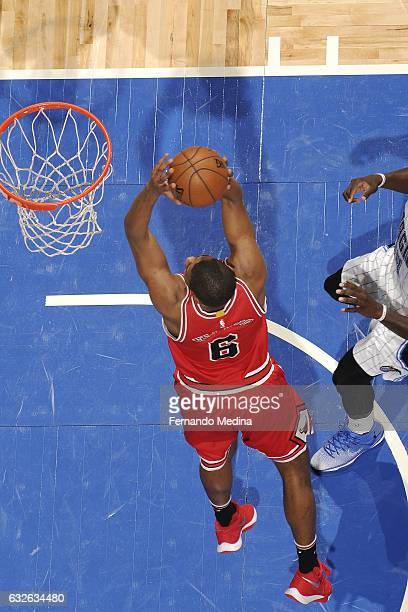Cristiano Felicio of the Chicago Bulls goes for the dunk during the game against the Orlando Magic on January 24 2017 at Amway Center in Orlando...