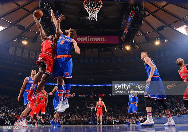 Cristiano Felicio of the Chicago Bulls goes up for the layup against the New York Knicks at Madison Square Garden on March 24 2015 in New YorkNew...