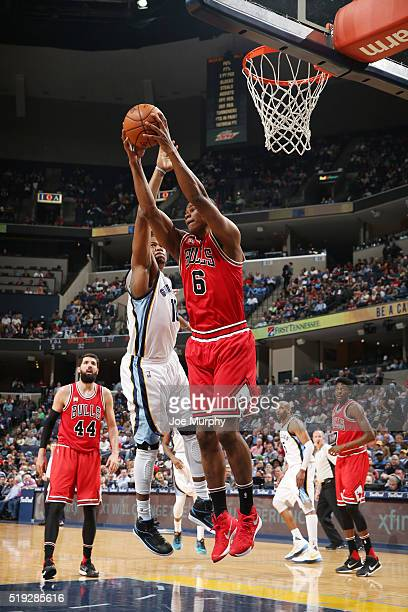 Cristiano Felicio of the Chicago Bulls grabs the rebound against the Memphis Grizzlies on April 5 2016 at FedExForum in Memphis Tennessee NOTE TO...