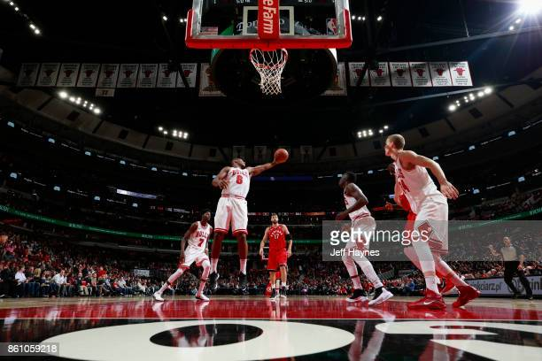 Cristiano Felicio of the Chicago Bulls grabs the rebound against the Toronto Raptors on October 13 2017 at the United Center in Chicago Illinois NOTE...