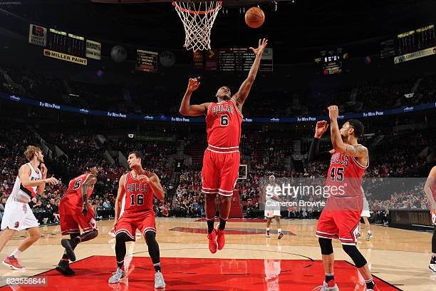Cristiano Felicio of the Chicago Bulls jumps for the rebound against the Portland Trail Blazers on November 15 2016 at the Moda Center in Portland...