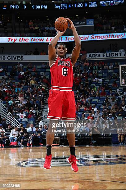 Cristiano Felicio of the Chicago Bulls shoots against the New Orleans Pelicans on April 11 2016 at the Smoothie King Center in New Orleans Louisiana...