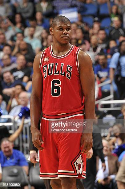 Cristiano Felicio of the Chicago Bulls stands on the court during the game against the Orlando Magic on March 2 2016 at Amway Center in Orlando...