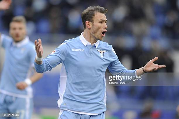Cristiano Lombardi of SS Lazio reacts during the Serie A match between SS Lazio and FC Crotone at Stadio Olimpico on January 8 2017 in Rome Italy