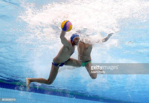 Cristiano Mirachi of Italy competes during the Men's Water Polo classification match between Australia and Italy on day fourteen of the Budapest 2017...