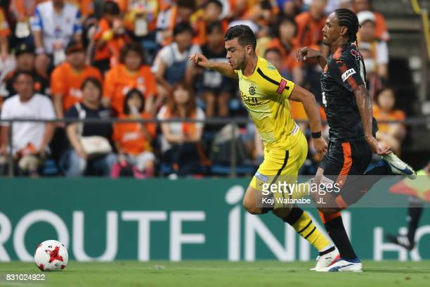 Cristiano of Kashiwa Reysol and Kanu of Shimizu SPulse compete for the ball during the JLeague J1 match between Shimizu SPulse and Kashiwa Reysol at...