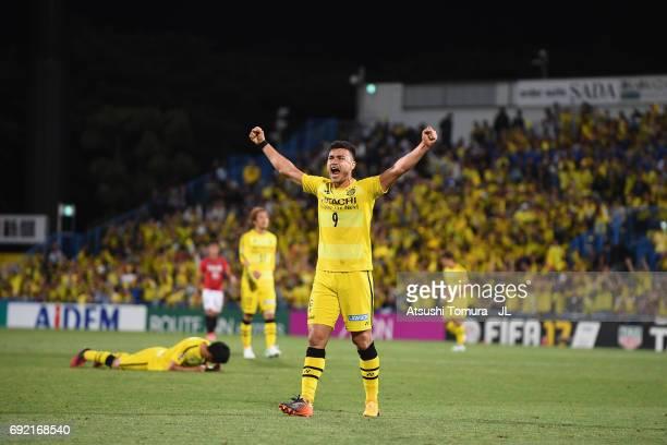 Cristiano of Kashiwa Reysol celebrates his side's 10 victory in the JLeague J1 match between Kashiwa Reysol and Urawa Red Diamonds at Hitachi Kashiwa...