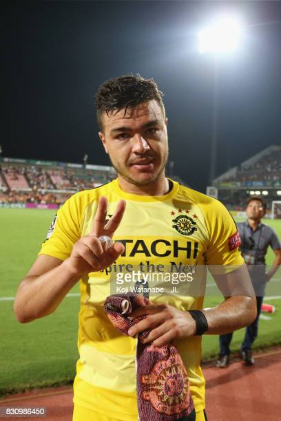 Cristiano of Kashiwa Reysol celebrates his side's 41 victory in the JLeague J1 match between Shimizu SPulse and Kashiwa Reysol at IAI Stadium...