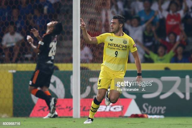 Cristiano of Kashiwa Reysol celebrates scoring his side's second goal during the JLeague J1 match between Shimizu SPulse and Kashiwa Reysol at IAI...