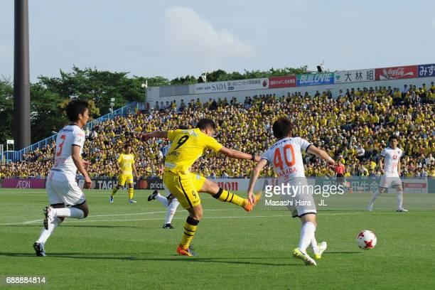 Cristiano of Kashiwa Reysol scores his side's fourth goal during the JLeague J1 match between Kashiwa Reysol and Omiya Ardija at Hitachi Kashiwa...