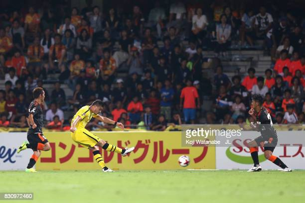 Cristiano of Kashiwa Reysol scores his side's fourth goal during the JLeague J1 match between Shimizu SPulse and Kashiwa Reysol at IAI Stadium...