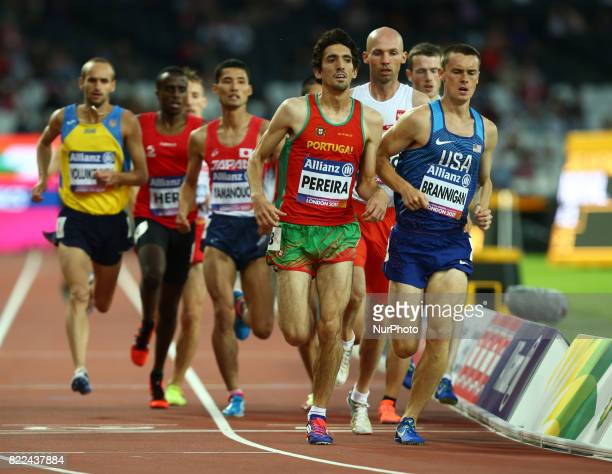 LR Cristiano Pereira of Portugal and Michael Brannigan compete Men's 1500m T20 Final during World Para Athletics Championships Day Three at London...