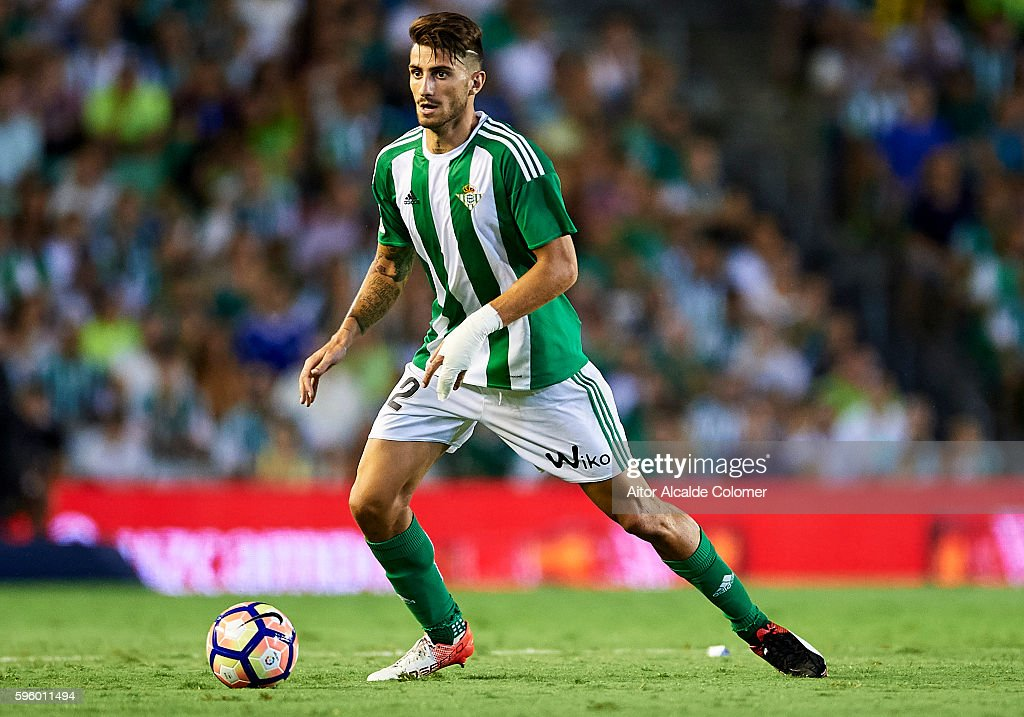 Cristiano Piccini of Real Betis Balompie in action during the match between Real Betis Balompie v RC Deportivo La Coruna as part of La Liga at...