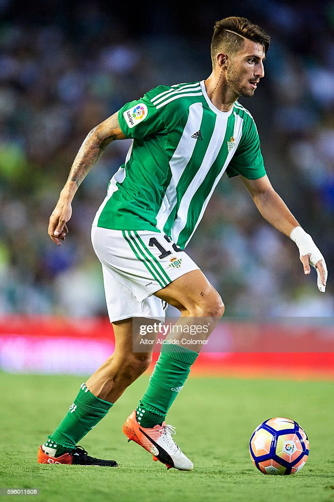 Cristiano Piccini of Real Betis Balompie lin actionduring the match between Real Betis Balompie v RC Deportivo La Coruna as part of La Liga at...