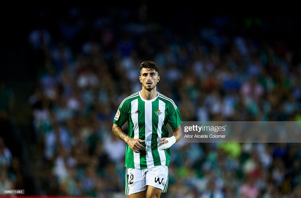 Cristiano Piccini of Real Betis Balompie looks on during the match between Real Betis Balompie v RC Deportivo La Coruna as part of La Liga at Estadio...