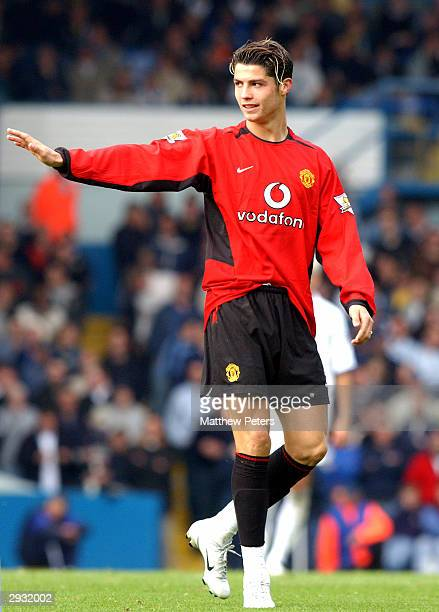 Cristiano Ronald in action during the FA Barclaycard Premiership match between Leeds United v Manchester United at Elland Road on October 18 2003 in...