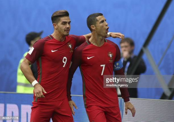 Cristiano Ronaldo and Andre Silva of Portugal celebrate after scoring a goal during the Confederations Cup 2017 match New Zealand Portugal at...