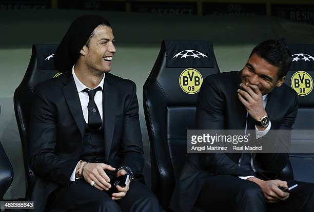 Cristiano Ronaldo and Casemiro of Real Madrid s share a joke prior of the UEFA Champions League Quarter Final second leg match between Borussia...