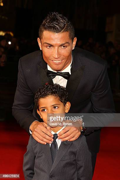 Cristiano Ronaldo and Cristiano Ronaldo Junior attend the World Premiere of 'Ronaldo' at the Vue West End on November 9 2015 in London England