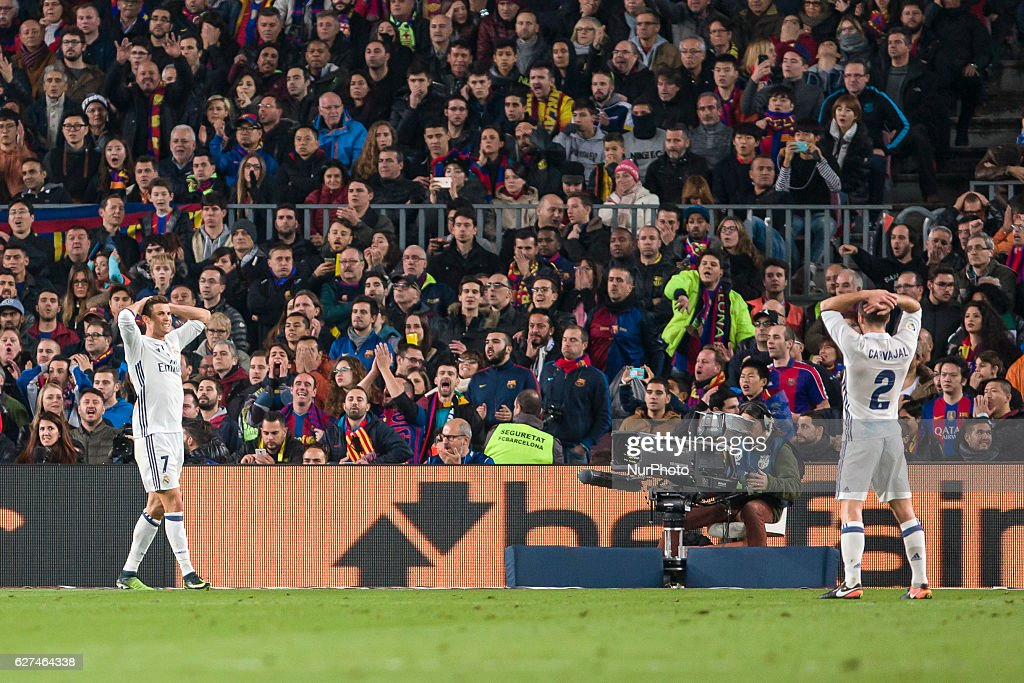 Cristiano Ronaldo and Daniel Carvajal during the match between FC Barcelona vs Real Madrid for the round 14 of the Liga Santander played at Camp Nou...