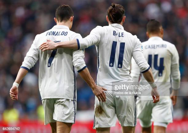 Cristiano Ronaldo and Gareth Bale of Real Madrid celebrate after scoring during the La Liga match between Real Madrid and RCD Espanyol at Estadio...
