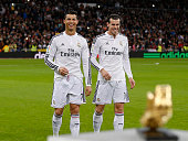 Cristiano Ronaldo and Gareth bale of Real Madrid CF Golden Boot award as best European scorer prior to start the La Liga match between Real Madrid CF...