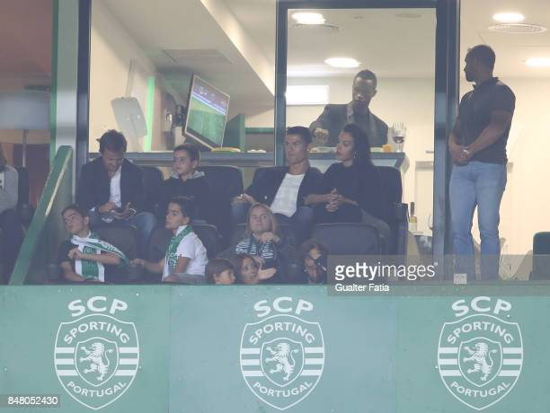 Cristiano Ronaldo and girlfriend Georgina Rodriguez during the Primeira Liga match between Sporting CP and CD Tondela at Estadio Jose Alvalade on...