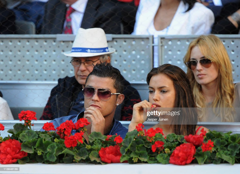 Cristiano Ronaldo and girlfriend Irina Shayk during the final match of the Mutua Madrilena Madrid Open Tennis on May 8, 2011 in Madrid, Spain.
