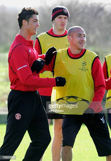 Cristiano Ronaldo and Henrik Larsson of Manchester United in action during a first team training session at Carrington Training Ground on March 6...