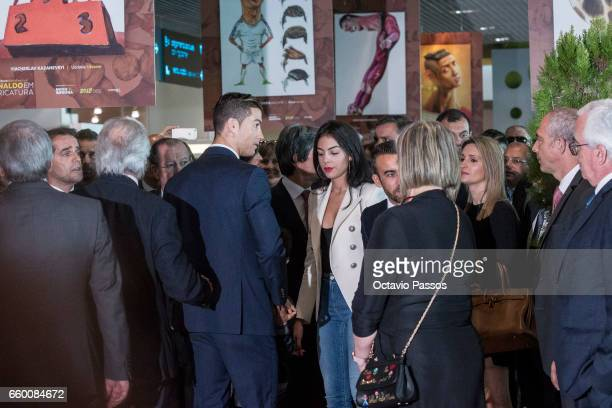 Cristiano Ronaldo and his girlfriend Georgina Rodriguez attend during the ceremony at Madeira Airport to rename it Cristiano Ronaldo Airport on March...