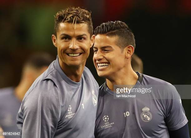 Cristiano Ronaldo and James Rodríguez of Real Madrid areseen during a training session prior to The UEFA Champions League Final between Juventus and...