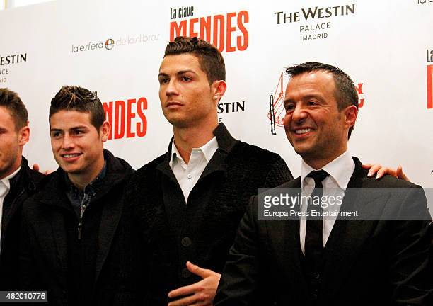 Cristiano Ronaldo and James Rodriguez attend the presentation of the book 'The Key to Mendes' by sport agent Jorge Mendes at Palace Hotel on January...