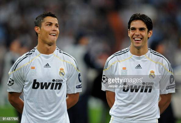 Cristiano Ronaldo and Kaka of Real Madrid share a light moment prior to the Champions League group C match between Real Madrid and Marseille at the...