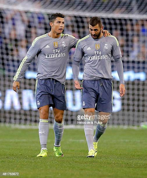 Cristiano Ronaldo and Karim Benzema of Real Madrid CF celebrate after scoring during the international Champions Cup match between Real Madrid and...