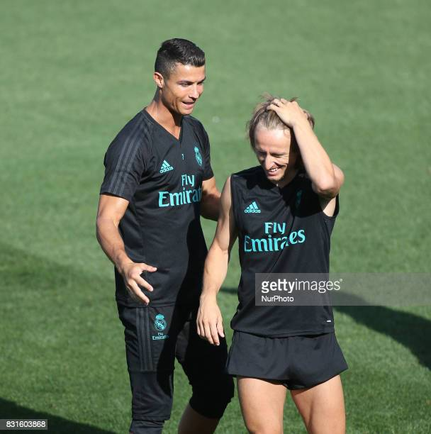 Cristiano Ronaldo and Luka Modric of Real Madrid during the last training of Real Madrid before the supercopa match 2nd Leg against Barcelona on...