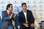 Cristiano Ronaldo and Miguel Albuquerque during the opening of the new 'Pestana CR7 Funchal' Hotel owned by Cristiano Ronaldo on July 22 2016 in...