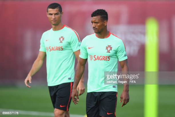 Cristiano Ronaldo and Nani look on during the Portugal training session on June 16 2017 in Kazan Russia