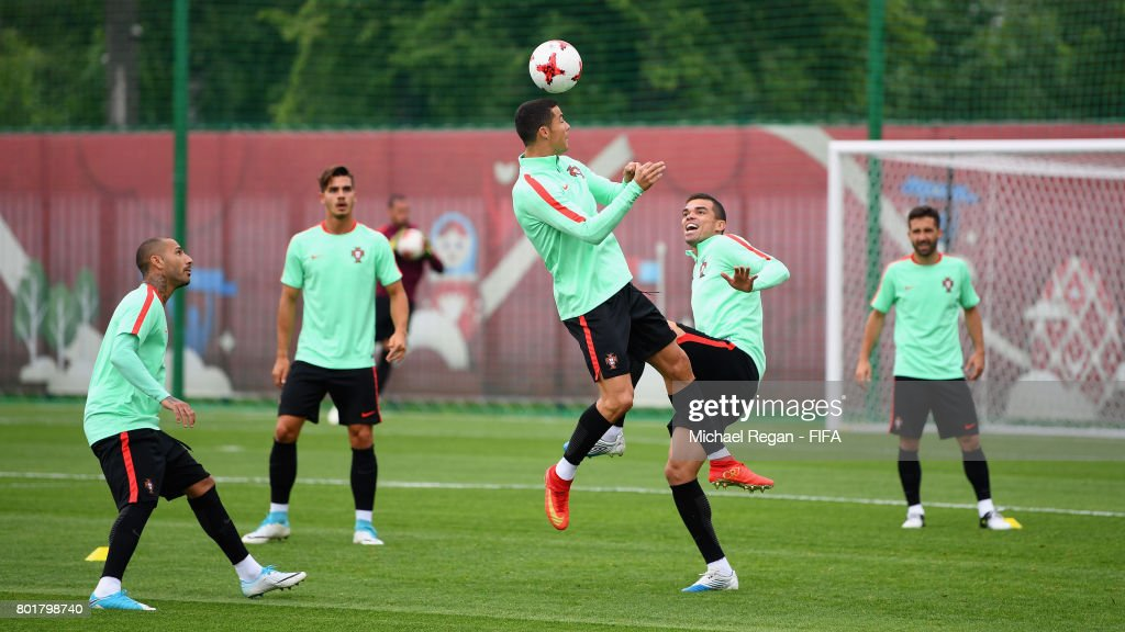Cristiano Ronaldo and Pepe in action during the Portugal training session on June 27, 2017 in Kazan, Russia.