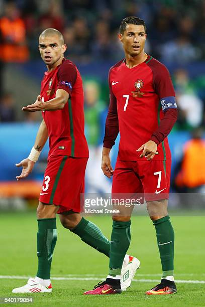 Cristiano Ronaldo and Pepe of Portugal are seen during the UEFA EURO 2016 Group F match between Portugal and Iceland at Stade GeoffroyGuichard on...