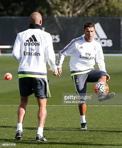 Cristiano Ronaldo and Pepe of Real Madrid warm up during a training session at City Football Academy training ground on July 16 2015 in Melbourne...