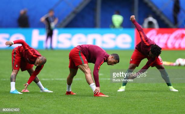 Cristiano Ronaldo and Portugal players warm up prior to the FIFA Confederations Cup Russia 2017 Group A match between New Zealand and Portugal at...