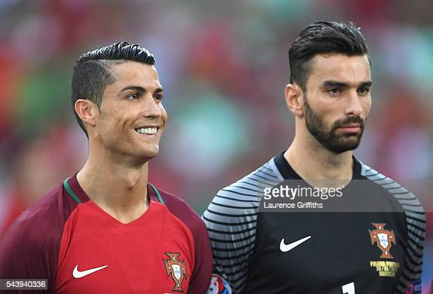 Cristiano Ronaldo and Rui Patricio of Portugal look on prior to the UEFA EURO 2016 quarter final match between Poland and Portugal at Stade Velodrome...