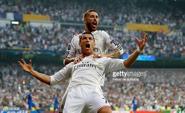 Cristiano Ronaldo and Sergio Ramos of Real Madrid celebrate after scoring during the UEFA Champions League semi final second leg match between Real...