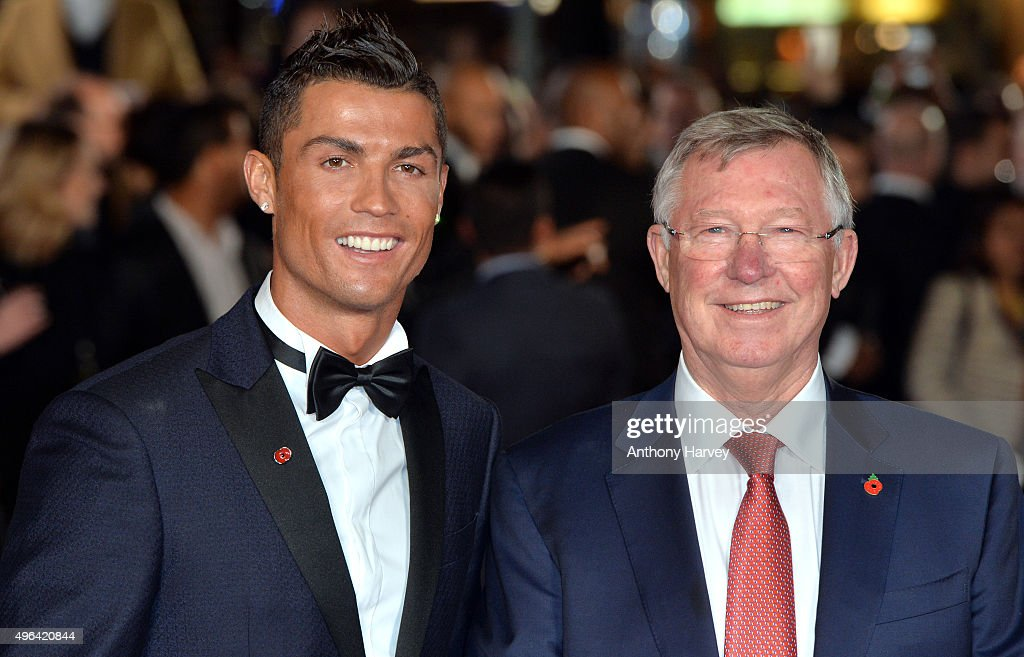 Cristiano Ronaldo and Sir Alex Ferguson attends the World Premiere of 'Ronaldo' at Vue West End on November 9, 2015 in London, England.