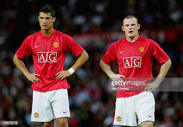 Cristiano Ronaldo and Wayne Rooney of Manchester United during the preseason friendly match between Manchester United and Inter Milan at Old Trafford...