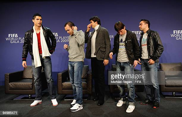 Cristiano Ronaldo Andres Iniesta Kaka Lionel Messi and Xavi leave the stage after a press conference before the FIFA World Player Gala on December 21...