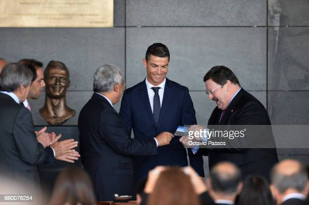 Cristiano Ronaldo attend during the ceremony at Madeira Airport to rename it Cristiano Ronaldo Airport on March 29 2017 in Santa Cruz Madeira Portugal