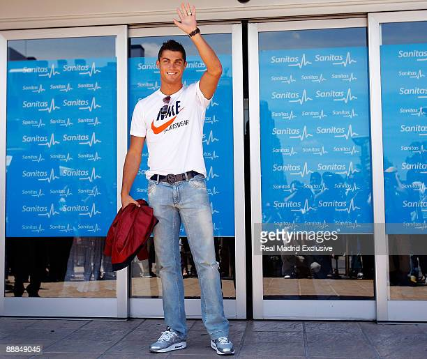 Cristiano Ronaldo attends a Real Madrid Medical before his official presentation as a new Real Madrid player at the Sanitas La Moraleja Hospital on...