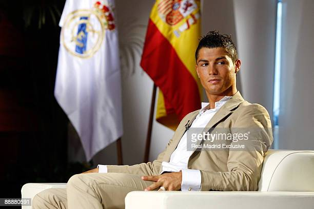Cristiano Ronaldo attends an interview for Real Madrid TV at Estadio Santiago Bernabeu on July 6 2009 in Madrid Spain