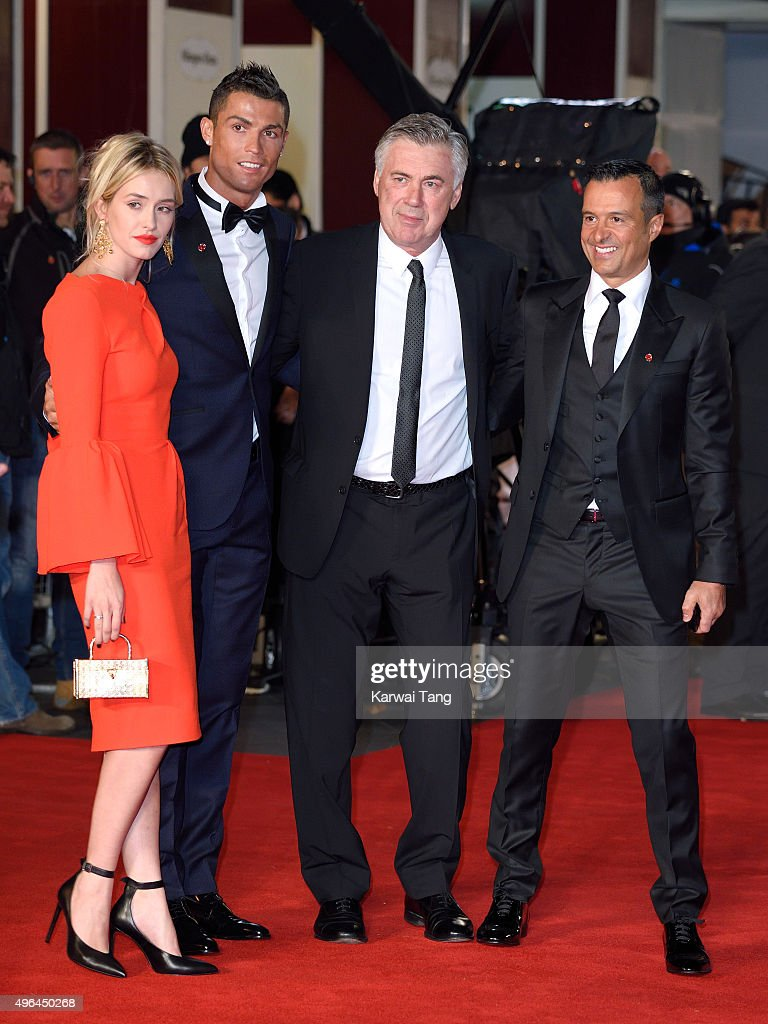 Cristiano Ronaldo, Carlo Ancelotti and Jorge Mendes attend the World Premiere of 'Ronaldo' at Vue West End on November 9, 2015 in London, England.